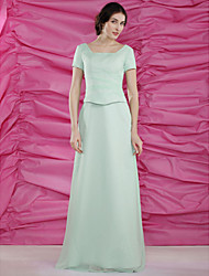 Sheath/Column Plus Sizes Mother of the Bride Dress - Sage Floor-length Short Sleeve Chiffon/Satin