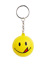 Smile Face Ball Style Keychain with Soft Plastic Material-Yellow