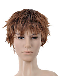 Short Curly Golden Brown Full Bang Men Hair Wig