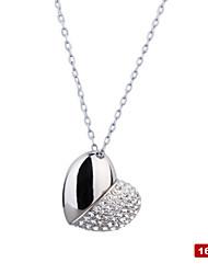 cristal de aço inoxidável em forma de coração usb2.0 colar unidade flash (16GB)