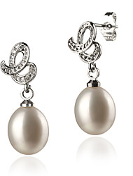 White AAA 8-9 mm Freshwater Pearl Earring With Sterling Silver Clasp