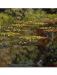 Hand-painted Oil Painting Water Lilies by Claude Monet with Stretched Frame