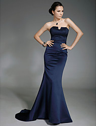 Formal Evening/Military Ball Dress - Dark Navy Plus Sizes Trumpet/Mermaid Strapless Sweep/Brush Train Satin