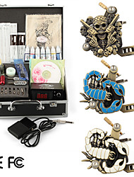 3 Carved Tattoo Machine Kit with LCD Power