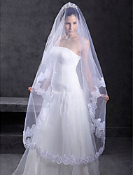 Wedding Veil One-tier Chapel Veils Lace Applique Edge 118.11 in (300cm) Tulle White / IvoryA-line, Ball Gown, Princess, Sheath/ Column,