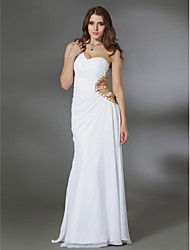 Formal Evening / Military Ball Dress - White Plus Sizes / Petite Sheath/Column One Shoulder Floor-length Chiffon