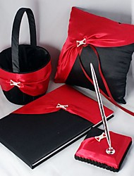 4 Collection Set Red / Black Flower Basket / Guest Book / Pen Set / Ring Pillow
