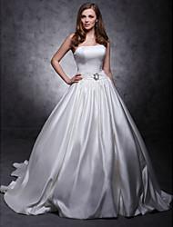 Trapèze Robe de Soirée Princesse Sans Bretelles Traîne Chapelle Satin Robe de mariée avecCeinture / Ruban Bouton Broche florale en