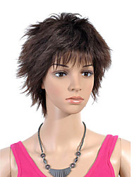 Capless Short Top Grade Quality Synthetic Brown Straight Hair Wig