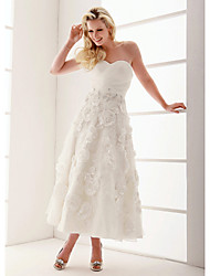 Lan Ting A-line/Princess Plus Sizes Wedding Dress - Ivory Ankle-length Sweetheart Organza