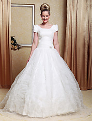 Lanting Ball Gown Plus Sizes Wedding Dress - Ivory Floor-length Scoop Satin/Organza