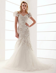 Lanting Bride Trumpet/Mermaid Plus Sizes / Petite Wedding Dress-Sweep/Brush Train V-neck Organza