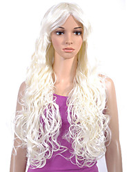 Capless Extra Long Top Grade Quality Synthetic White Curly Hair Wig