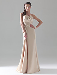 Lanting Bride® Floor-length Satin Bridesmaid Dress - A-line / Princess / Trumpet / Mermaid Strapless Plus Size / Petite withRuffles /