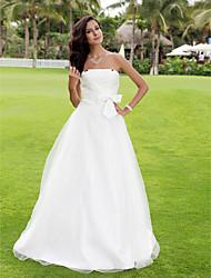 A-line/Princess Plus Sizes Wedding Dress - White Floor-length Strapless Satin/Tulle