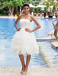 Lan Ting A-line Plus Sizes Wedding Dress - Ivory Knee-length Strapless Satin/Organza