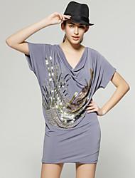 TS Multi-color Sequins Cowl Neck Short Sleeves Dress