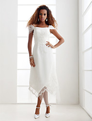 Lanting Sheath/Column Plus Sizes Wedding Dress - Ivory Asymmetrical Off-the-shoulder Organza