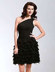 TS Couture® Cocktail Party / Sweet 16 Dress - Little Black Dress Plus Size / Petite A-line / Princess One Shoulder Short / Mini Chiffon withTiers /