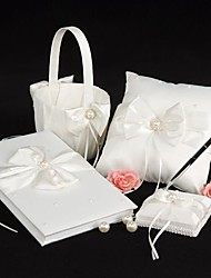 Wedding Collection Set in Ivory Satin With Crystal and Pearl Accents (4 Pieces)