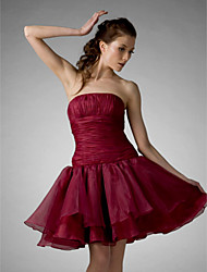 Cocktail Party/Prom/Holiday/Sweet 16 Dress - Burgundy Plus Sizes Ball Gown/A-line/Princess Strapless Knee-length Organza
