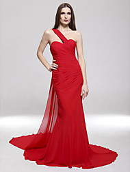 TS Couture® Formal Evening / Military Ball Dress - Ruby Plus Sizes / Petite Trumpet/Mermaid One Shoulder Sweep/Brush Train Chiffon