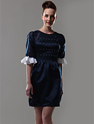 Cocktail Party Homecoming Dress - Short Celebrity Style Sheath / Column Jewel Short / Mini Organza Satin with Beading Ruffles