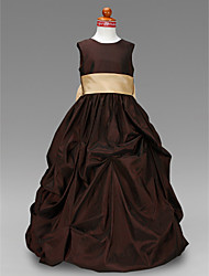 Ball Gown Floor-length Flower Girl Dress - Taffeta Jewel with Bow(s) Pick Up Skirt Sash / Ribbon