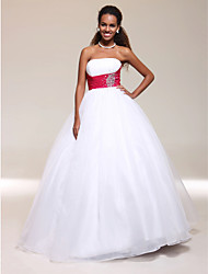 Ball Gown Strapless Floor-length Satin Tulle Prom/ Evening/ Wedding Dress