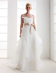 Lanting Attractive A-line Sweetheart Court Train Satin Wedding Dress