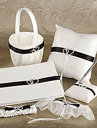 6 Collection Set Ivory / Black Flower Basket / Garter / Guest Book / Pen Set / Ring Pillow