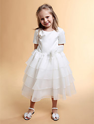 Lanting Bride Ball Gown Tea-length Flower Girl Dress - Organza / Satin Short Sleeve Jewel with Bow(s) / Flower(s) / Tiers