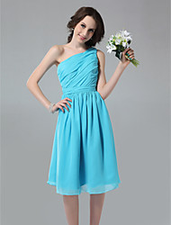 Knee-length Chiffon Bridesmaid Dress - Pool Plus Sizes / Petite A-line / Princess One Shoulder