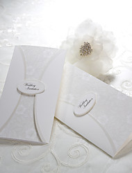Vintage Floral Embossed Tri-fold Wedding Invitation (Set of 50)