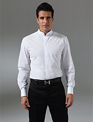 Custom Made Mandarin Collar Black Piping Fly Front Tuxedo Shirt