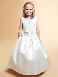 Lanting Bride A-line / Princess Floor-length Flower Girl Dress - Lace / Satin Sleeveless Scoop with Bow(s) / Lace / Sash / Ribbon