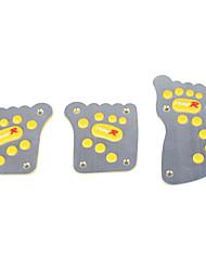 3 PCS Footprints Style Car Brake/Clutch Pedal/Accelerator Pedal-Yellow+Silver