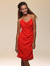 Homecoming Cocktail Party/Holiday Dress - Ruby Plus Sizes Sheath/Column Cowl/Spaghetti Straps Knee-length Chiffon
