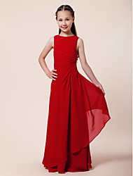 Lanting Bride Floor-length Chiffon Junior Bridesmaid Dress A-line / Sheath / Column Bateau Natural with Beading / Side Draping