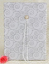 Silver Scroll Guest Book with Folded Blank Pages Sign In Book