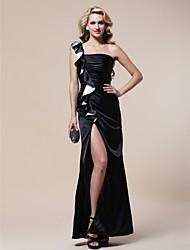 Formal Evening/Military Ball Dress - Black Sheath/Column One Shoulder Floor-length Stretch Satin