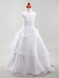 A-line Ball Gown Princess Floor-length Flower Girl Dress - Organza Satin Jewel with Embroidery Sash / Ribbon