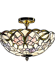 Tiffany Style Stained Glass Pendant Light in Floral Pattern with 2 Lights
