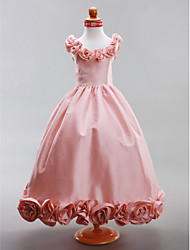 A-line / Princess Floor-length Flower Girl Dress - Taffeta Sleeveless Scoop with Draping / Flower(s)