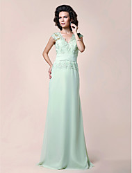 LAN TING BRIDE A-line Plus Size Petite Mother of the Bride Dress - Elegant Floor-length Sleeveless Chiffon Lace with Beading Lace Ruching