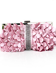 shell de seda preciosa con diamantes de imitación noche bolso de embrague