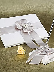 Guest Book Pen Set Satin Garden ThemeWithFaux Pearl