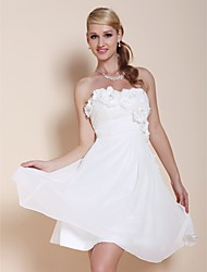 Homecoming Cocktail Party/Graduation Dress - White Plus Sizes A-line/Princess Strapless/Sweetheart Knee-length Chiffon