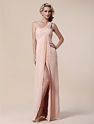 TS Couture® Formal Evening / Military Ball Dress - Pearl Pink Plus Sizes / Petite Sheath/Column One Shoulder Floor-length Chiffon / Stretch Satin
