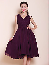 Knee-length Chiffon Bridesmaid Dress - Grape Plus Sizes / Petite A-line / Princess V-neck